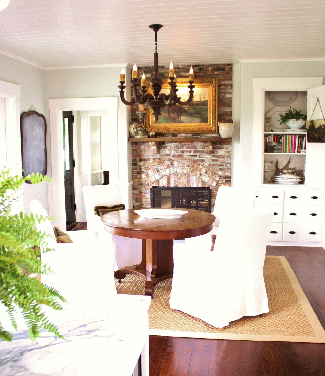 Simple kitchen design pictures - Love The Table Near The Fireplace Farmhouse Kitchen Pinterest