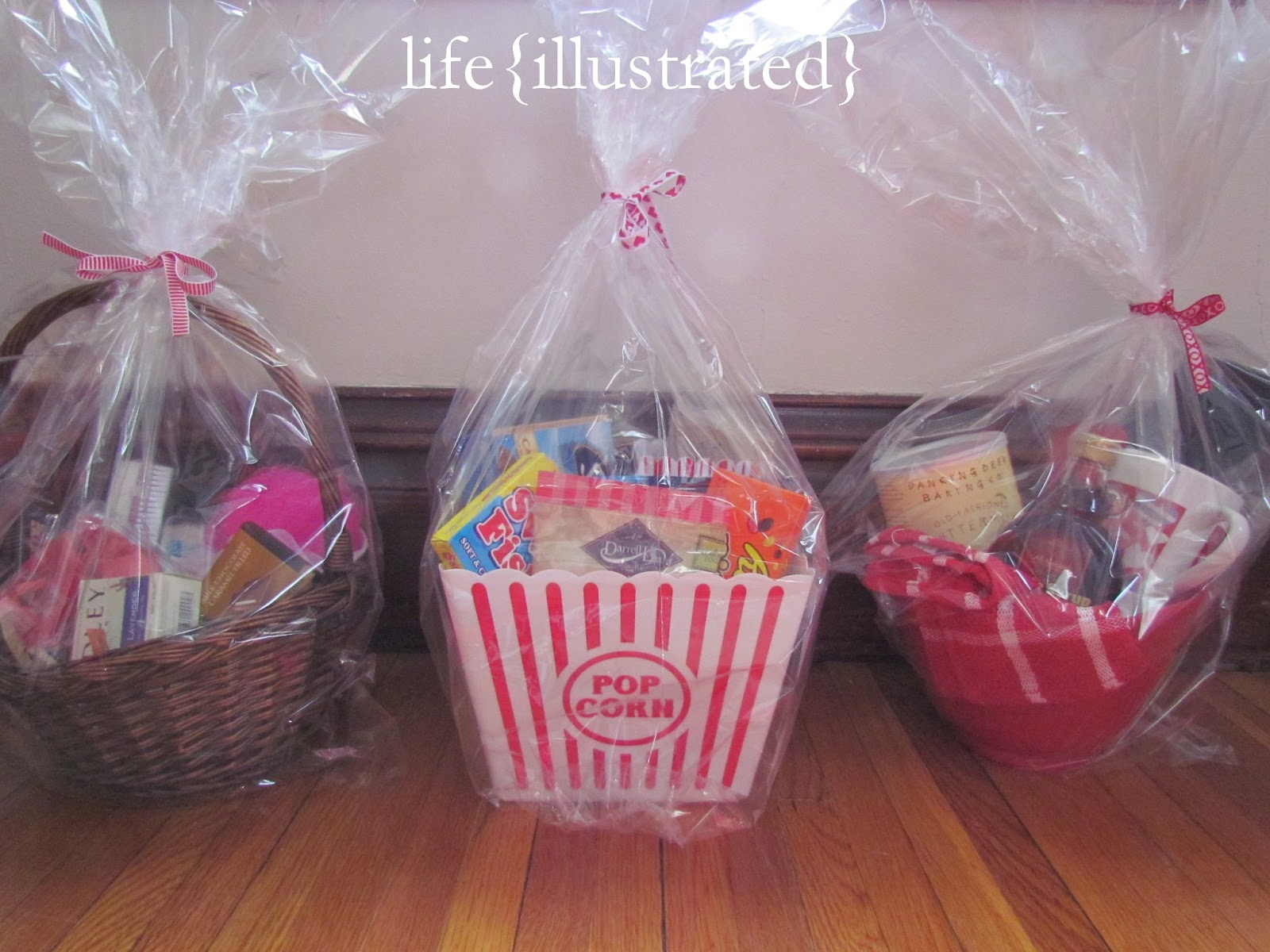 i started out by thinking of themes for the baskets picnic breakfast in bed pizza movie night italian dinner coffee spa roadtrip fondue etc - Valentines Gift Basket Ideas