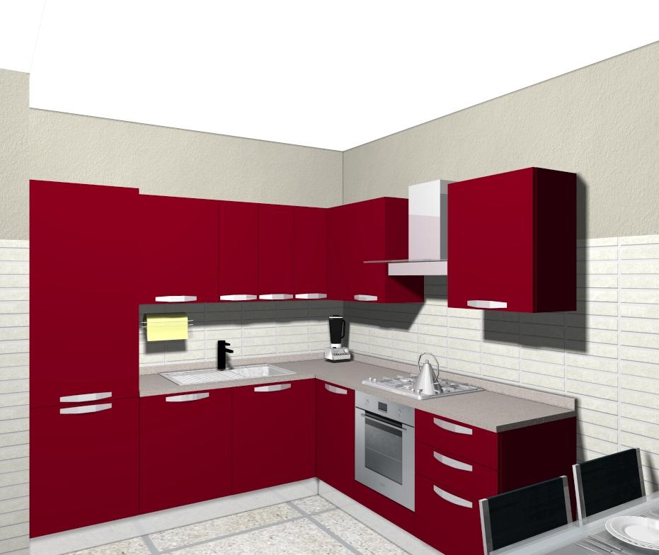 Veneta cucine milano lissone una cucina tutta rossa - Cucina laccata rossa ...