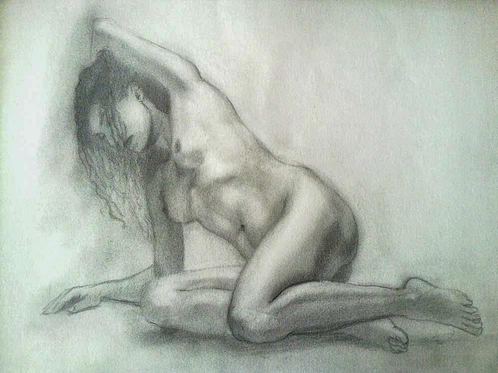desnudo de mujer en grafito