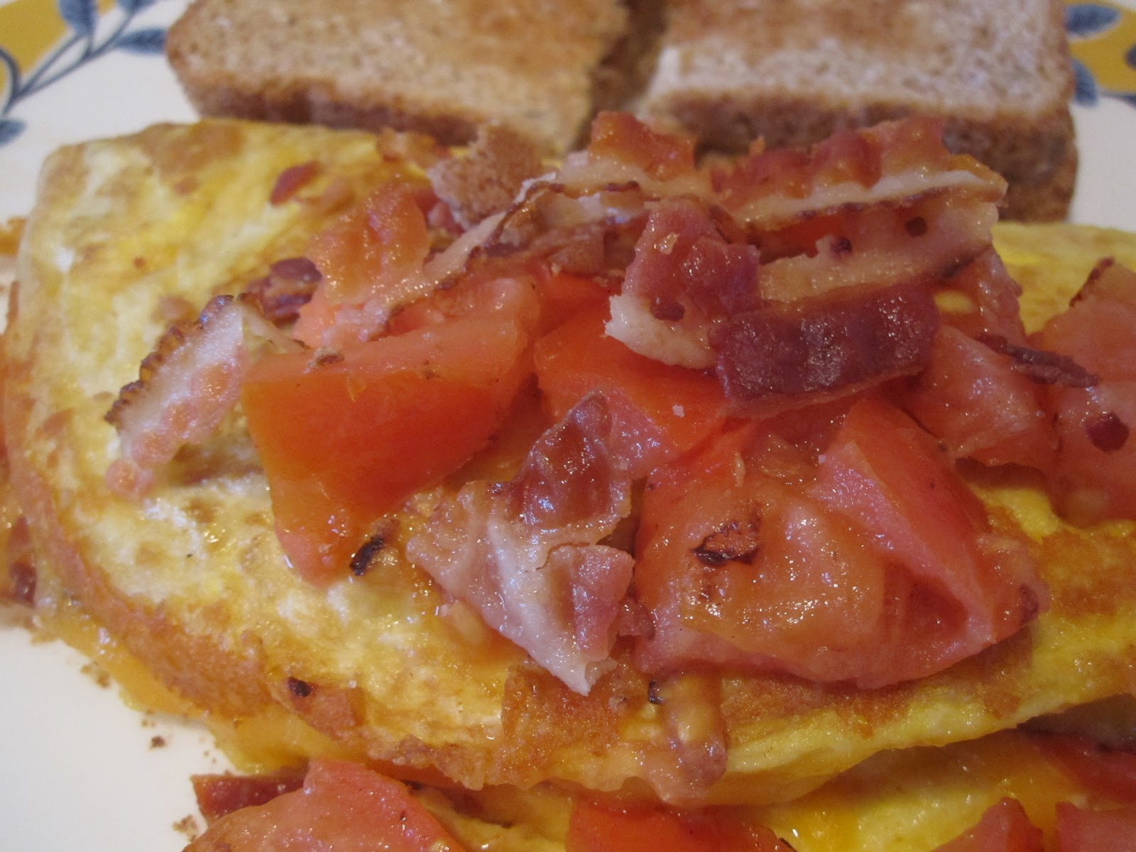 Neighbor Julia: Tomato, Bacon and Cheddar omelet