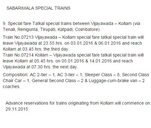Sabarimala Pooja - pilgrimage (2015-2016), Christmas 2015 special trains From Vijayawada to Kollam via ( Tenali, Renigunta, Tirupati, Katpadi, Coimbatore )  dates
