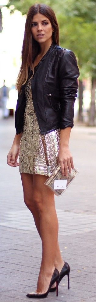 Street style textured glittering dress.