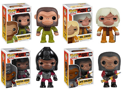 Planet of the Apes Pop! Movies Vinyl Figures by Funko - Cornelius, Dr. Zaius, General Ursus & Ape Soldier
