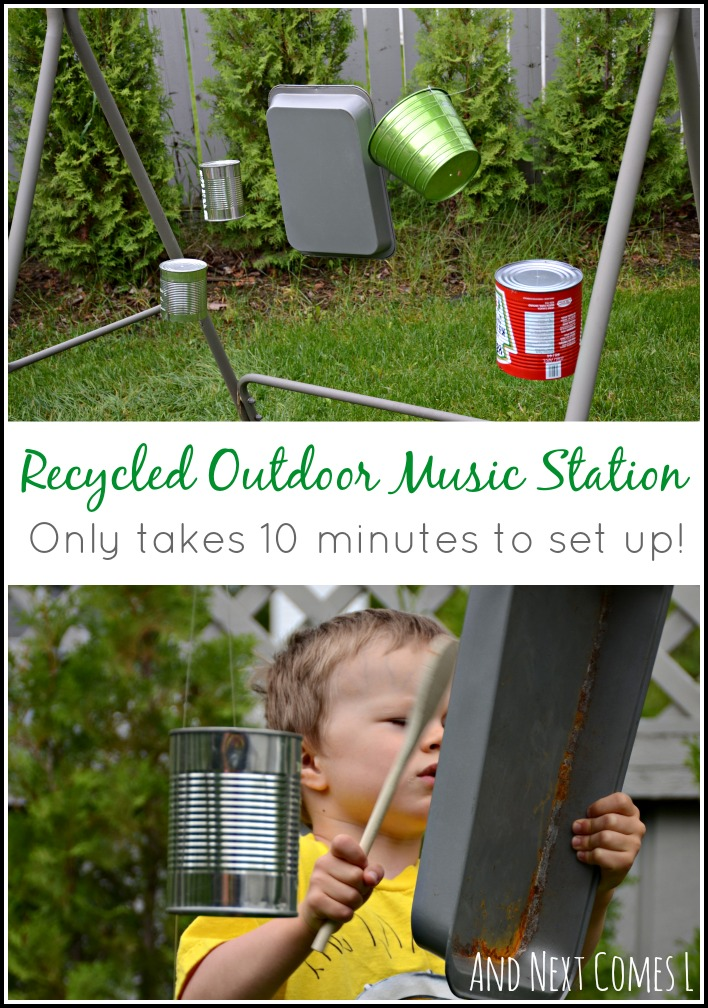 DIY recycled outdoor music station for kids that's temporary and only takes 10 minutes to set up from And Next Comes L