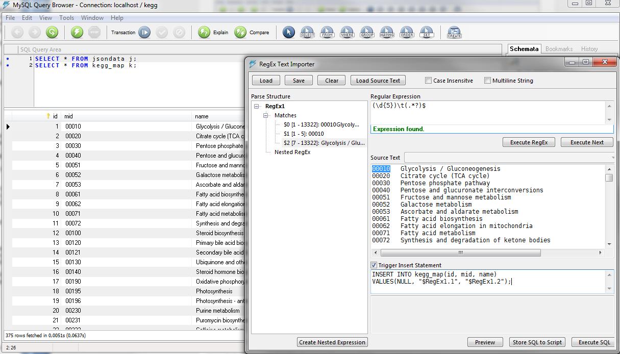 RegEx Text Import w  MySQL Query Browser - ad ETL methods