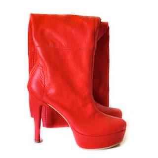 cizme rosii peste genunchi cu platforma si toc inalt
