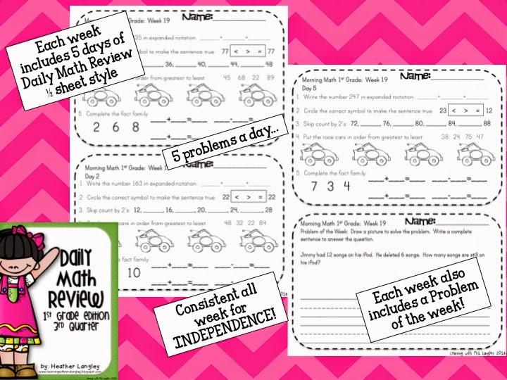 http://www.teacherspayteachers.com/Product/Daily-Math-Review-1st-Grade-Quarter-3-1259099