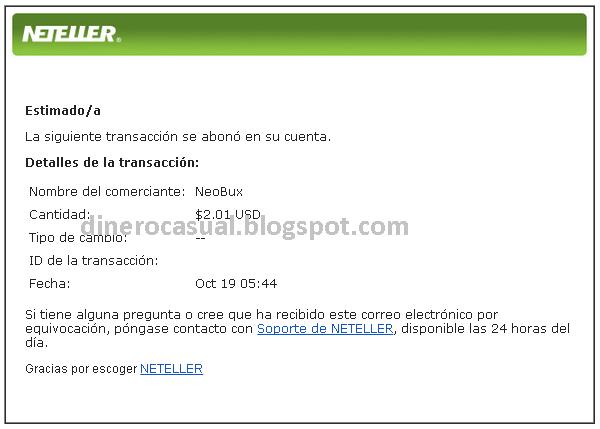 Primer pago de NeoBux por Neteller