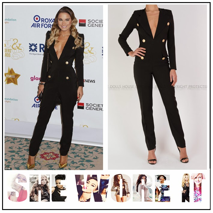 Black, Button Detail, Deep V Neckline, Gold, Jumpsuit, Long Sleeve, Sam Faiers, Slim Leg, Tailored, The Dolls House, TOWIE, The Only Way Is Essex,
