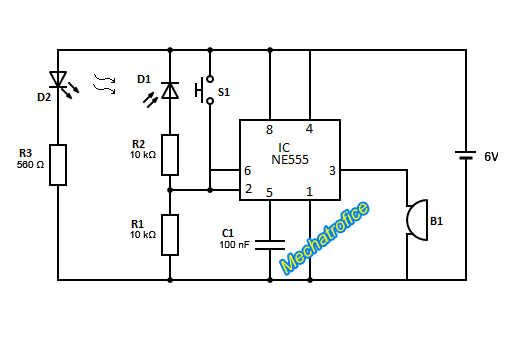 infrared burglar alarm circuit using 555