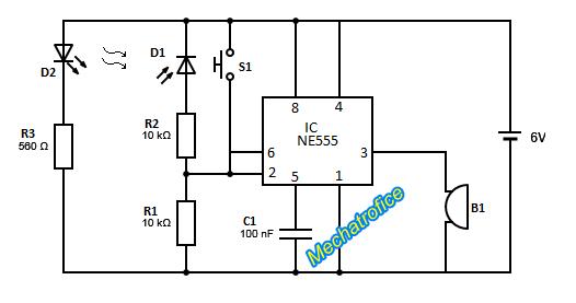 infrared burglar alarm circuit