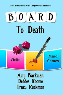 parts of a board game and dice are on the cover as are a knife and a pool of blood