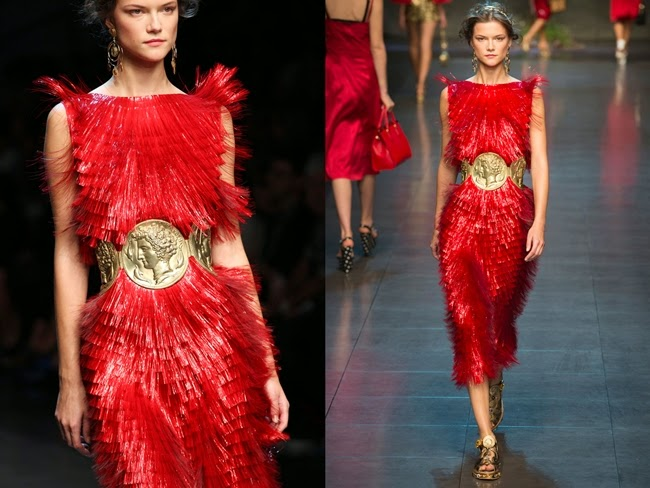 Dolce & Gabbana Spring 2014 Red PVC Fringed Dress
