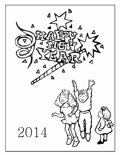 Happy New Year 2014 for Coloring