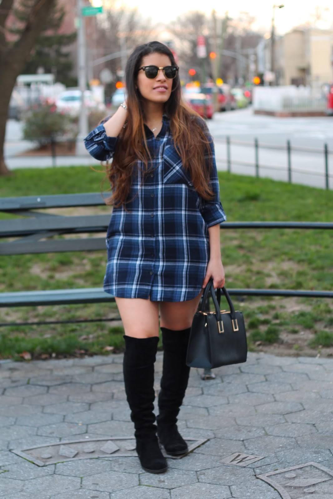 forever 21, plaid flannel shirt dress, plaid, flannel, winter, ray-ban, h&m, marshalls, knee-high boots, winter style, fashion, fashion blogger, new york, nyc, new york blogger, latina, blue, black, shades of blue, black, gold, sunglasses, ray bans, ray bans sunglasses, club master, ray ban club master