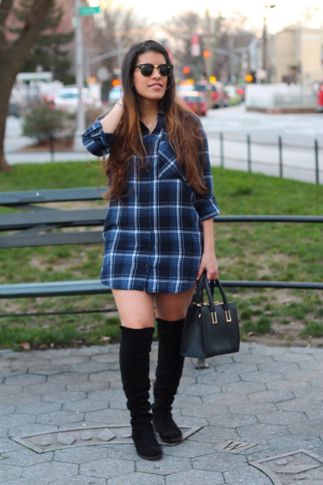 Plaid Flannel Shirt Dress Knee High Boots