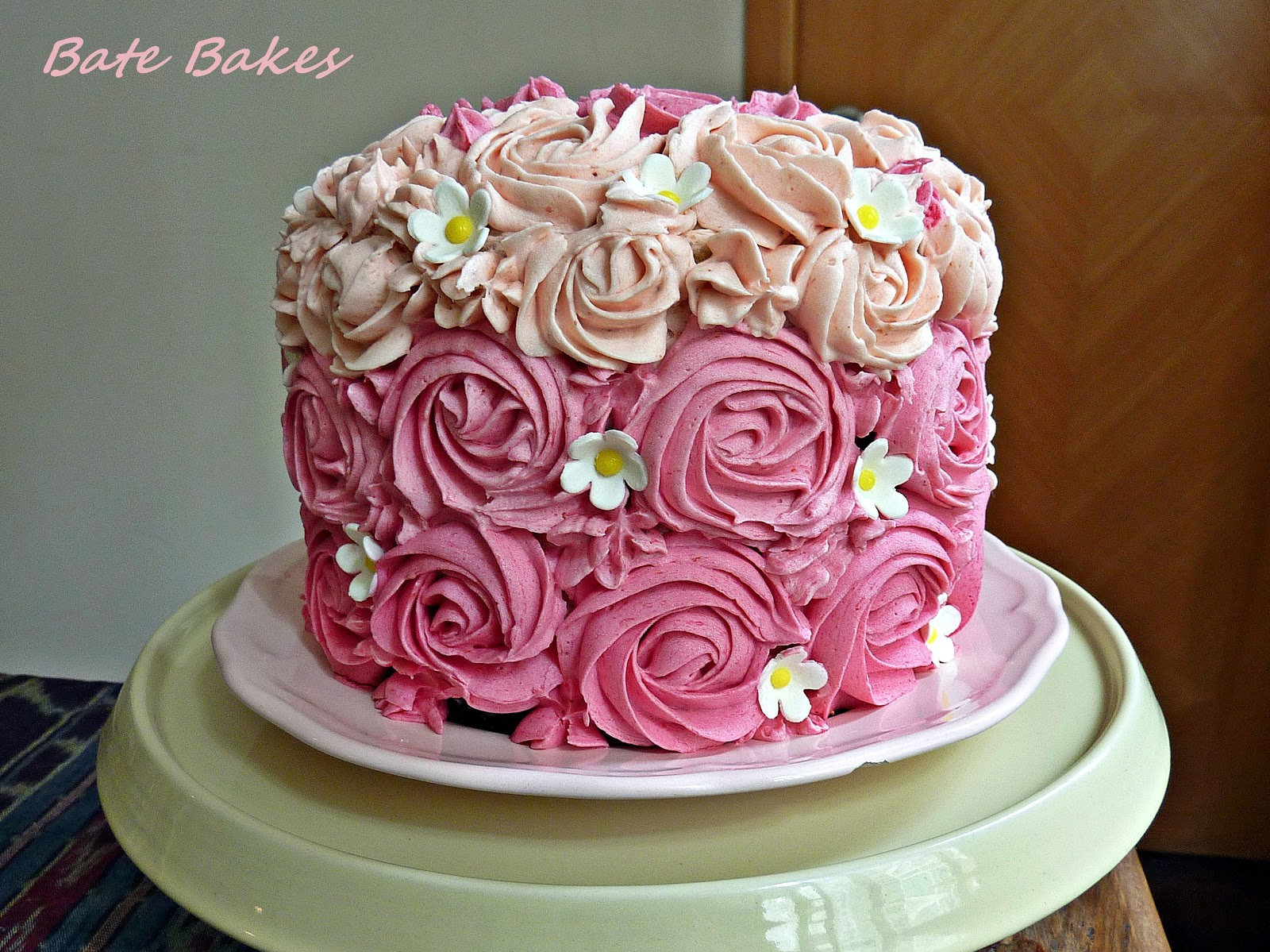 Bate Bakes Neapolitan Rose Cake with Strawberry Buttercream