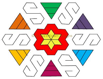 Kolam 31: Lines Kolam  Interlocked dots 15 x 8