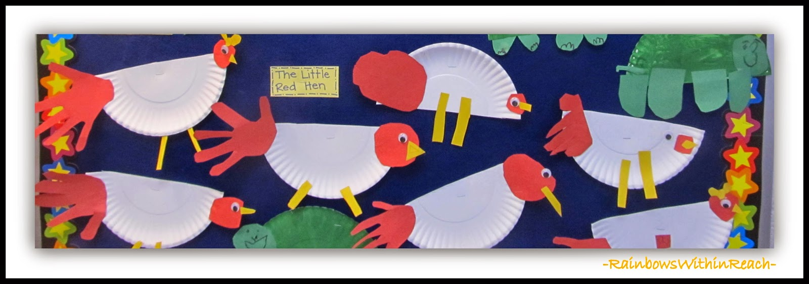 Chickens made with Paper Plate and Cut Hand Print at RainbowsWithinReach