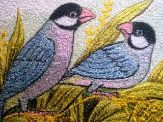 lukis bordir burung gelatik jawa