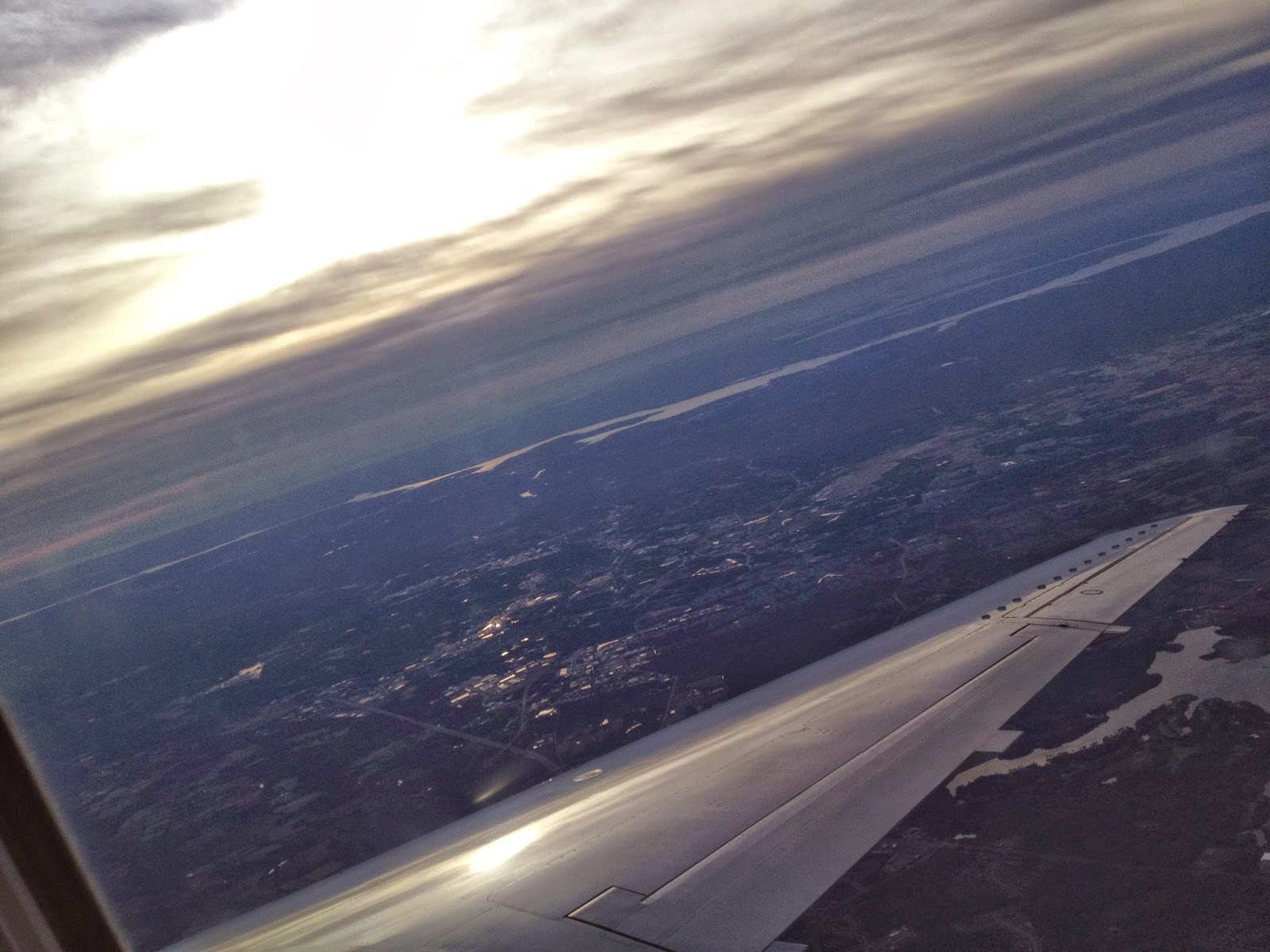View of wing from an airplane window