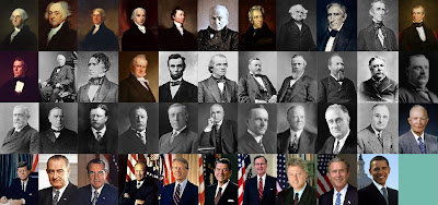 All presidents of the US in a grid of portraits