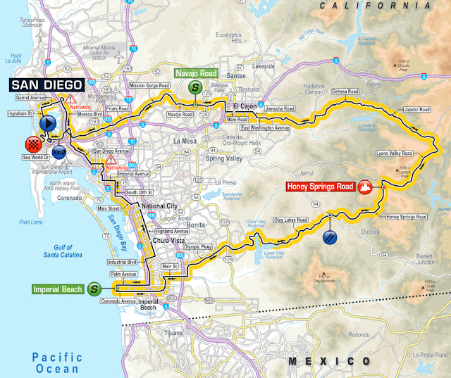 Stage 2 map of Tour of California 2016