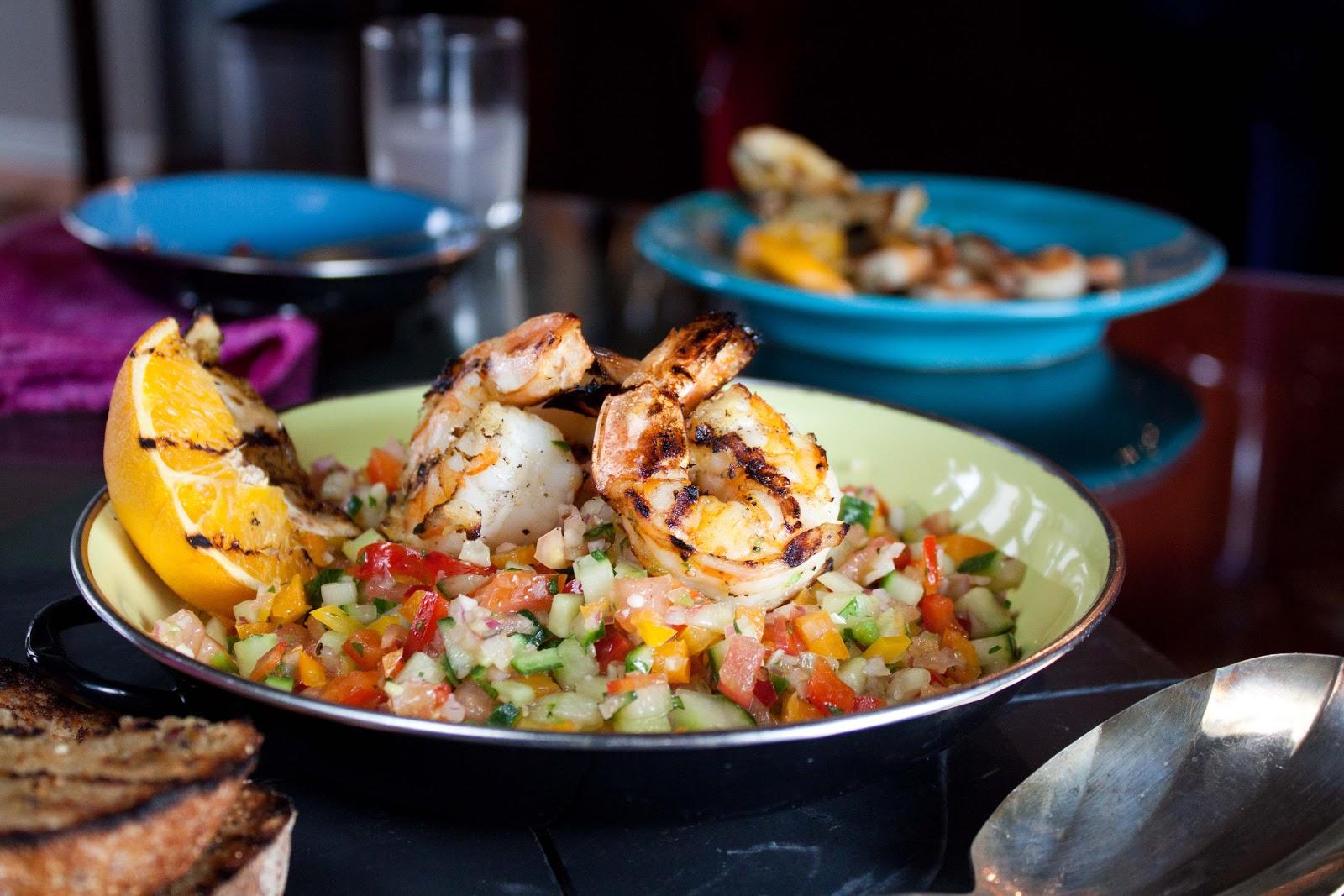 Grilled Gazpacho Salad With Shrimp Recipe — Dishmaps