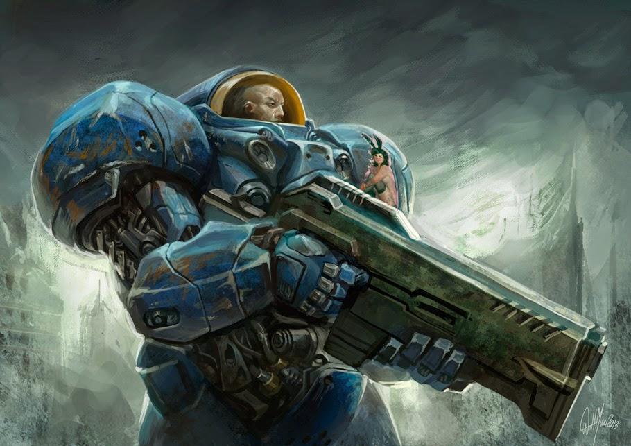 illustration de Will Murai représentant un space marine du jeu Warhammer 40k