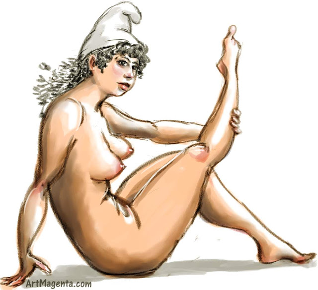 Nude Smurf in a Phrygian Cap is a life drawing by artist and illustrator Artmagenta