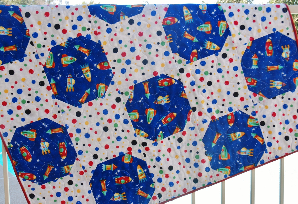 Charley dee me outer space baby boy quilt for Space baby fabric