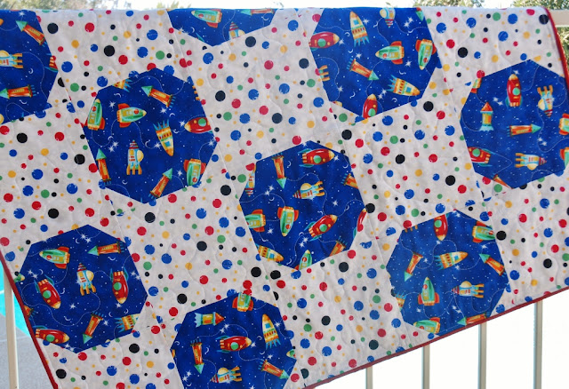 Charley dee me outer space baby boy quilt for Space boy fabric