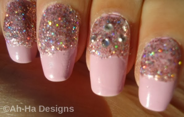 Ah-Ha Designs: Glitter Nude Nails with Jewels