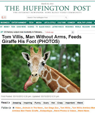 armless man feeds giraffe his foot, San Diego zoo