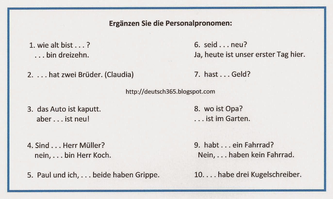 Deutsch: Personalpronomen (Nominativ)