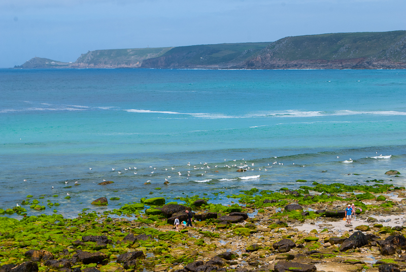 Image of a family playing on the rocks in sennen cove along with seagulls and the ocean west cornwall, england, UK