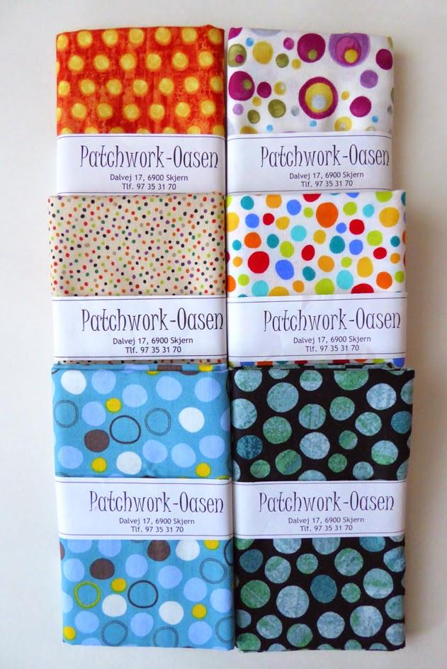 Prikkede patchwork stoffer til Give & Take tæppe