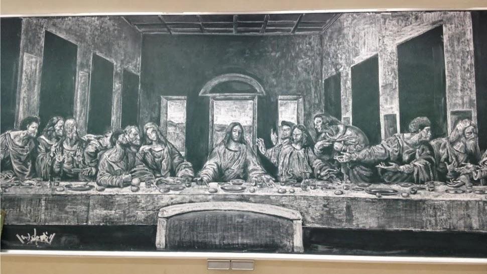 最後の晩餐の黒板アート