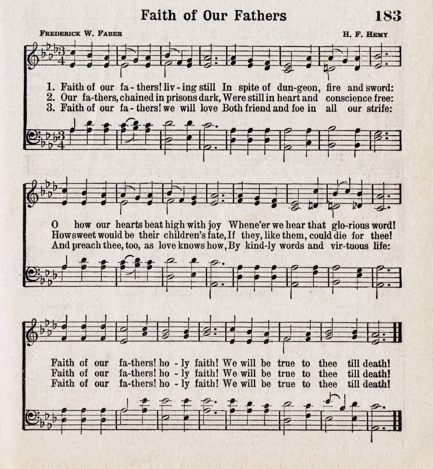 Printable Antique Hymn Book Page - Faith of Our Fathers via http://knickoftimeinteriors.blogspot.com/