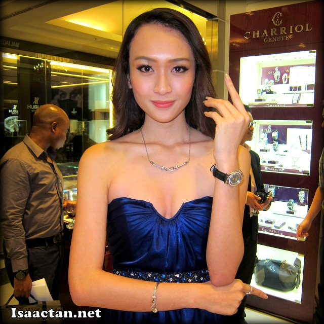 One of the models wearing and showcasing Charriol's beautiful accessories and watch.