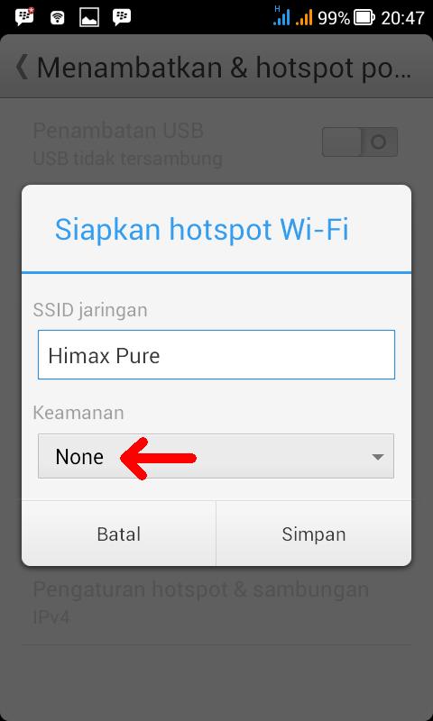 Menambatkan & Hotspot Portabel tanpa password
