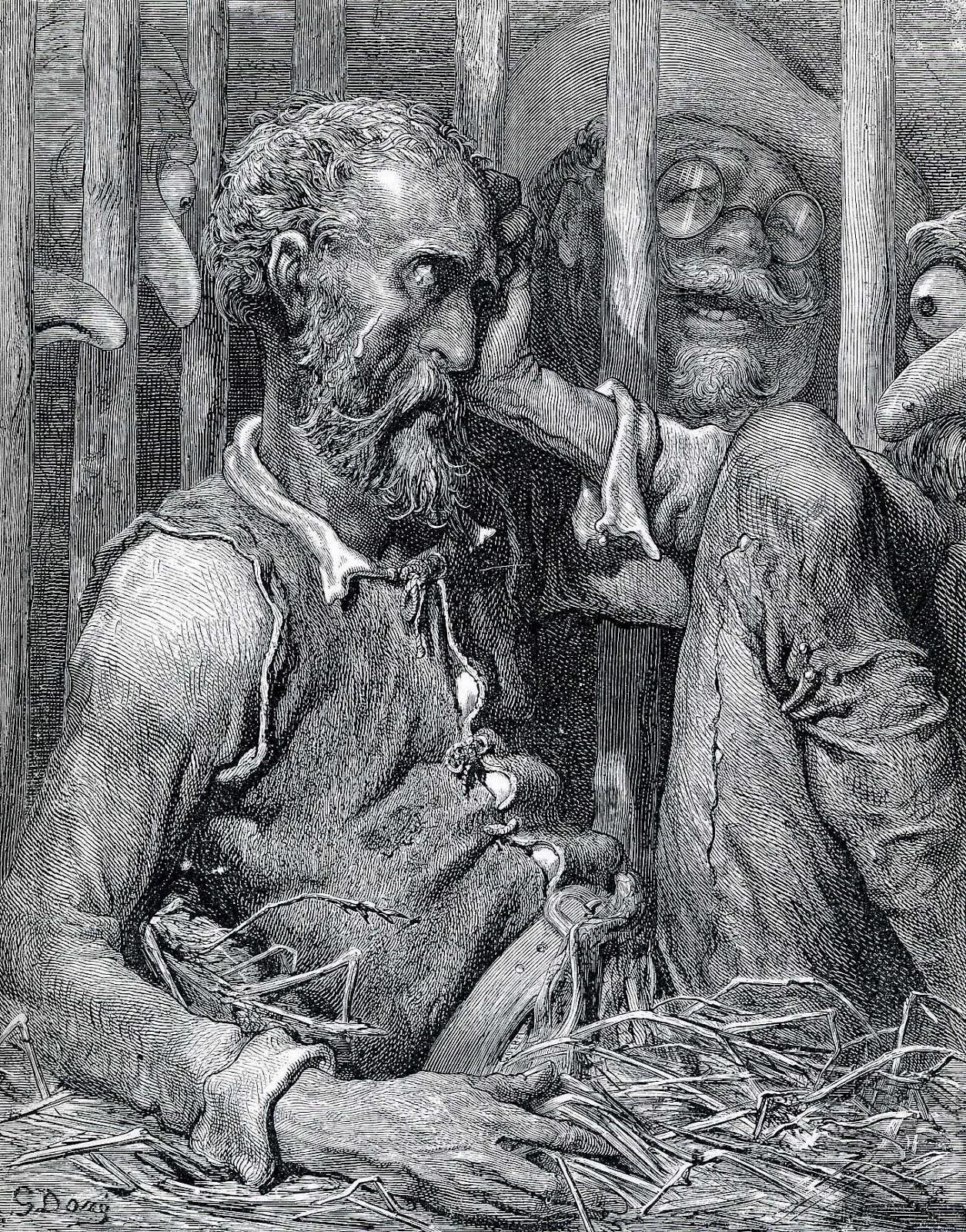 Dom Quixote, Sancho Pança, Dom Quixote Encantado, Encantamento de Dom Quixote, Dom Quixote enjaulado, Ilustração, Gustave Doré