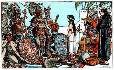 """""""Encuentro con Hernán Cortes"""" de Donn Philip Crane (1878-1944) Donn fue uno de los primeros artistas americanos de dibujo fantástico y ha ilustrado libros para niños."""