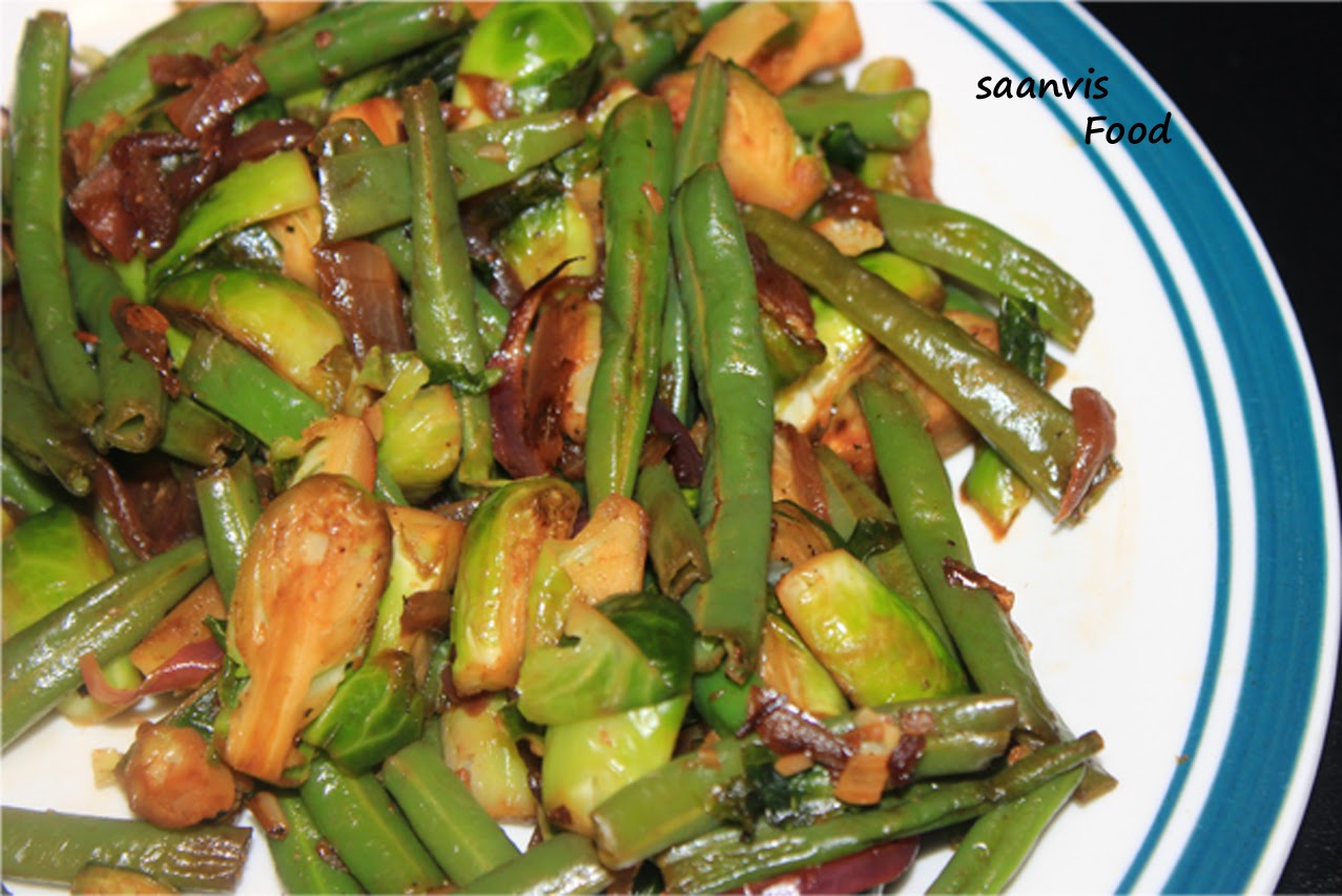 Brussel Sprouts and Green Beans Stir-Fry