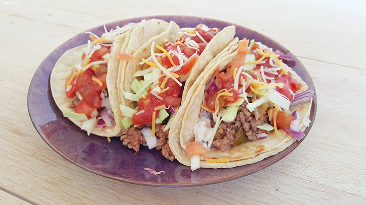 "Check out this delicious, Americanized ""street taco"" recipe - double stacked, over flowing, with a rainbow of veggies, and a dollop of Pace salsa! Make these street tacos in minutes for dinner this evening!"