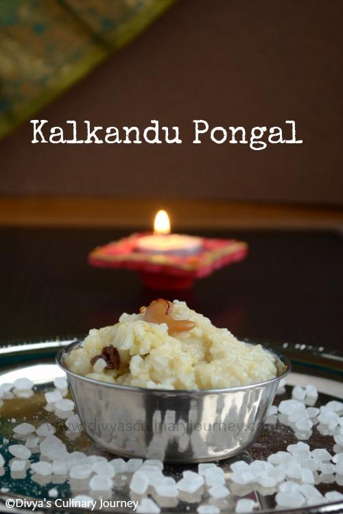 kalkandu pongal, sweet pongal with kalkandu