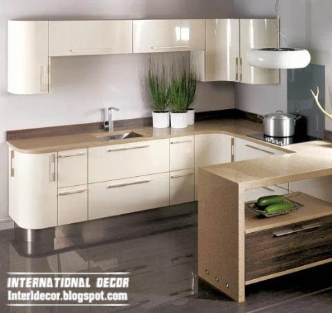 L-shaped kitchen in neutral colors 2014