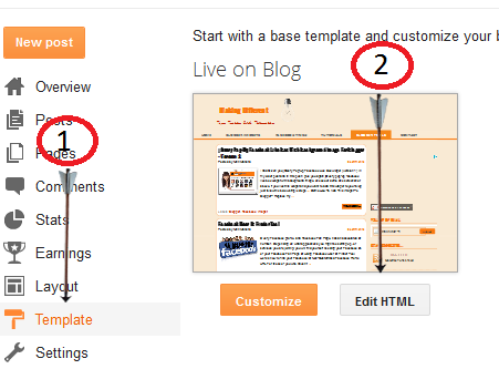 click on expand widget template search for head in your blogs html ...