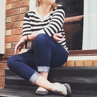 cropped jeans, striped jumper